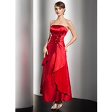 A-Line/Princess Strapless Ankle-Length Charmeuse Holiday Dress With Ruffle Beading Flower(s) (020026024)