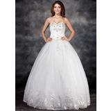 De baile Coração Longos Tule Vestido de noiva com Renda Bordado fecho de correr Lantejoulas (002017122)