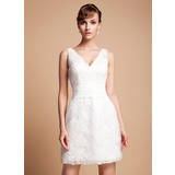 Sheath/Column V-neck Short/Mini Lace Wedding Dress (002011935)