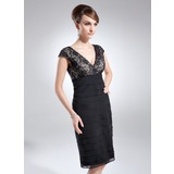 Sheath/Column V-neck Knee-Length Chiffon Lace Cocktail Dress With Ruffle (016008240)
