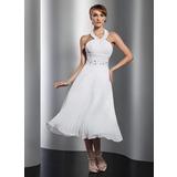 Vestidos princesa/ Formato A Cabresto Comprimento médio De chiffon Vestido de boas vindas com Bordado Plissada (022014804)