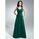 Трапеция/Принцесса V-образный Длина до пола Атлас Платье Для Матери Невесты с Рябь (008014947)