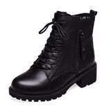 Vrouwen PU Chunky Heel Closed Toe Laarzen Enkel Laarzen met Rits Vastrijgen schoenen (088186665)