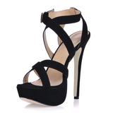 Mulheres Camurça Salto agulha Sandálias Plataforma com Fivela sapatos (087015245)
