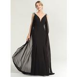 Tubo Decote V Longos Tecido de seda Vestido de festa com Beading lantejoulas (017167686)