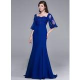 Trompete/Sereia Amada Sweep/Brush trem Tecido de seda Vestido de festa com Renda Beading lantejoulas (017025436)