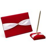 Смелый красный Роскошная роза подкладке Стразы/Лук Гостевая книга & перо набор (101018138)