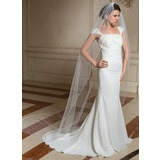 One-tier Pencil Edge Cathedral Bridal Veils With Faux Pearl (006024477)