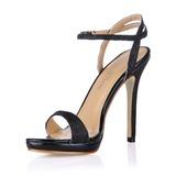 Женщины кожа Высокий тонкий каблук Сандалии Босоножки обувь (087017922)