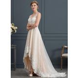 Vestidos princesa/ Formato A Decote V Assimétrico Tule Vestido de noiva com Renda (002171923)