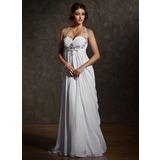 Império Coração Sweep/Brush trem De chiffon Vestido de noiva com Pregueado Bordado (002011570)