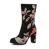 Vrouwen Echt leer Chunky Heel Pumps Laarzen Half-Kuit Laarzen met Bloem schoenen (088176633)
