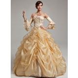 Платье для Балла Без лямок Длина до пола Органза Пышное платье с Рябь развальцовка блестки (021017537)