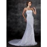 Trumpet/Mermaid Sweetheart Chapel Train Lace Wedding Dress (002000513)