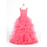 Ball Gown Floor-length Flower Girl Dress - Organza/Satin Sleeveless Straps With Ruffles/Beading (010005873)