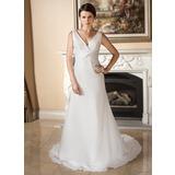 Трапеция/Принцесса V-образный Церемониальный шлейф шифон Свадебные Платье с Рябь (002012729)