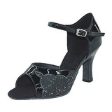 Женщины кожа Мерцающая отделка На каблуках Сандалии Латино с Ремешок на щиколотке Обувь для танцев (053013038)