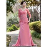 Vestidos princesa/ Formato A Decote V Sweep/Brush trem tecido de seda Vestido para a mãe da noiva com Pregueado Bordado fecho de correr lantejoulas (008018986)