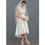 A-Line/Princess Scoop Neck Asymmetrical Satin Lace Wedding Dress (002127338)