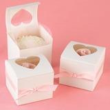 Hjärta form Laser Gesneden Cubic Cupcake Dozen met Linten (Set van 12) (050013116)