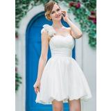Forme Princesse Encolure asymétrique Court/Mini Taffeta Robe de mariée avec Plissé Fleur(s) (002051517)