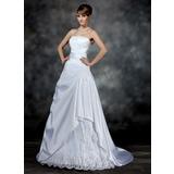 Vestidos princesa/ Formato A Sem Alças Cauda de sereia Cetim Vestido de noiva com Pregueado Bordado Apliques de Renda (002017181)