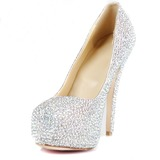 Vrouwen Patent Leather Stiletto Heel Pumps Plateau Closed Toe met Strass schoenen (085026495)