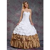 Платье для Балла В виде сердца Длина до пола Тафта Пышное платье с Рябь Бисер (021003114)