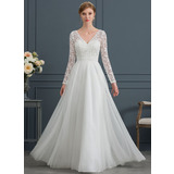 A-Line V-neck Floor-Length Tulle Wedding Dress (002171963)