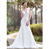 Trompete/Sereia Cabresto Cauda longa De chiffon Vestido de noiva com Pregueado Renda Bordado (002012033)