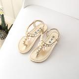 Jentas Titte Tå flat Heel Sandaler Flate sko med Imitert Perle Velcro (207204360)