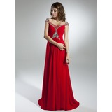 A-Line/Princess Off-the-Shoulder Sweep Train Chiffon Holiday Dress With Ruffle Beading (020032259)