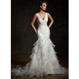 Раструб/Платье-русалка V-образный Церковный шлейф Атлас Органза Свадебные Платье с Ниспадающие оборки (002011678)