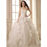 De baile Coração Longos Cetim Organza de Vestido de noiva com Bordado Apliques de Renda Babados em cascata (002026595)