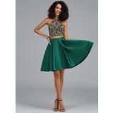 A-Line Halter Short/Mini Satin Homecoming Dress (022203122)