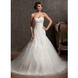 Платье для Балла В виде сердца Собор поезд Тюль кружева Свадебные Платье с Бисер (002014962)