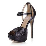 Patent Leather Sprankelende Glitter Stiletto Heel Sandalen Plateau Peep Toe met Gesp schoenen (087025073)
