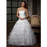 De baile Coração Longos Tafetá Tule Vestido de noiva com fecho de correr Babados em cascata (002011920)