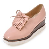Mulheres Couro Plataforma Calços com Franja sapatos (086199588)