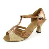 Mulher Espumante Glitter Couro Brilhante Saltos Sandálias Latino Salão de Baile com Correia -T Sapatos de dança (053013253)