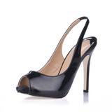 Patent Leather Stiletto Heel Sandalen Peep Toe Slingbacks schoenen (085017514)