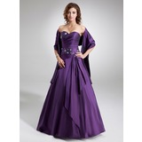Vestidos princesa/ Formato A Coração Longos Tafetá Vestido quinceanera com Pregueado Bordado (021020577)