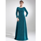 Empire Scoop Neck Sweep Train Velvet Mother of the Bride Dress With Beading (008005916)