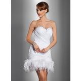 Tubo Coração Curto/Mini Cetim Organza de Vestido de noiva com Pregueado Bordado Pena fecho de correr (002012076)