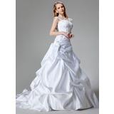 Трапеция/Принцесса Церковный шлейф Атлас Свадебные Платье с Вышито блестками (002000436)