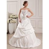 Платье для Балла В виде сердца Церемониальный шлейф Тафта Свадебные Платье с Вышито Рябь Бисер блестками (002012765)