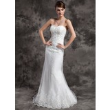 Trumpet/Mermaid Sweetheart Court Train Tulle Wedding Dress With Lace Beading (002015010)