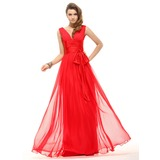 Vestidos princesa/ Formato A Decote V Longos De chiffon Vestido de Férias com Pregueado Curvado (020016067)