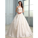 De baile Coração Cauda longa Tafetá Vestido de noiva com Pregueado Bordado Apliques de Renda (002030757)