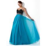 Império Coração Longos De chiffon Tule Vestido de baile com Pregueado Bordado Lantejoulas (018004900)